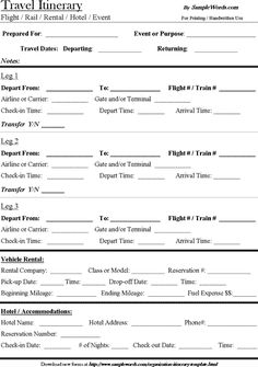 Free Download Travel Itinerary Template More