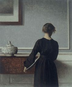 Vilhelm Hammershøi, Interior with Young Woman from Behind, 1904