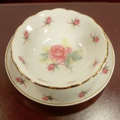 """Our fabulous line of doll accessories includes mini fine china serving pieces like our set of 4 bowls and plates perfect for special play time with an 18 inch dolls like American Girl Dolls. Designed and exclusively manufactured by us, The Queen's Treasures. Beautiful cut work edge in our Pink Rose pattern. Plates measure 3.25 inches wide & bowls measure 2.5 x 3/'4"""" high. Wonderful coordinating mini size tea set, doll furniture, other china serving pieces & Child size tea set sold separately."""