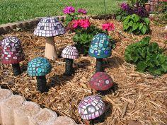 mosaic garden mushrooms