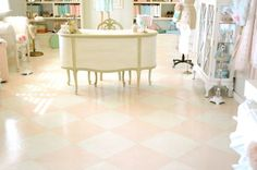 Pink and white floor