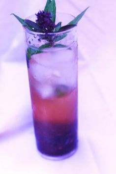 Blue Basil Fizz:  6 blueberries.  4 blackberries.  3 leaves basil.  *splash Homemade Sour Mix (see below)  1 ounce Chambord.  3 to 4 ounces prosecco, well chilled  sprig basil for garnish.  *Homemade sour mix:  1 cup sugar.  1 cup combination of fresh lime juice and lemon juice.