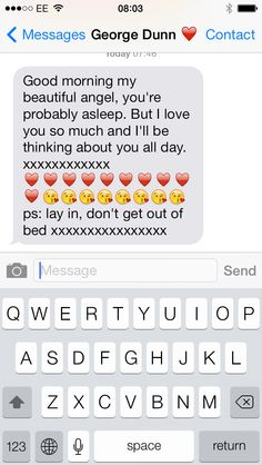 He's so sweet, I'm not feeling well, and he's on his way to school, but he still takes the time out of his day to send me a cute morning message ❤️ Sweet Boyfriend Texts, Morning Messages, Morning Text Messages, Cute Love Text Messages, Cute Couple Text Messages, Cute Texts To Boyfriend, Sweet Texts To Boyfriend, Morn Messag