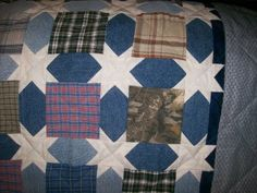 Betty's Love of Quilting: ~ Quilt Made With Jeans & Shirts ~