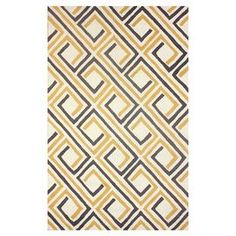 Hand-hooked rug with a geometric motif.   Product: RugConstruction Material: 100% PolyesterColor: SunflowerFeatures: Hand-hooked Note: Please be aware that actual colors may vary from those shown on your screen. Accent rugs may also not show the entire pattern that the corresponding area rugs have.