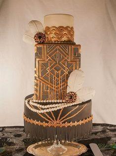 WOW How amazing is this Art Deco Great Gatsby inspired wedding cake via Cake Wrecks:Deco-licious  #mwri #wedding #cake