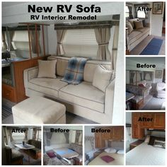 """My RV remodel with my New Sofa 72"""" x 34"""" Sofa fit through RV door!  Made for Small  Tight Spaces."""
