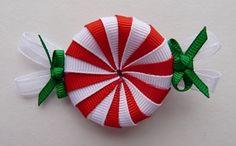 swirl peppermint candy hair bow