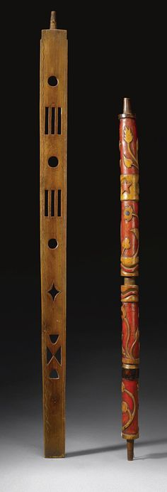 SIOUX WOOD PUZZLE PIPE STEM TOGETHER WITH A CHIPPEWA PIPE STEM