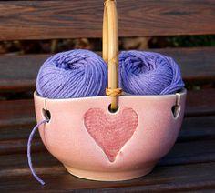 Heart Yarn Bowl / Knitting / Crochet / Needlecrafts by LASpottery,