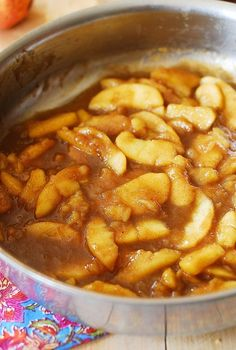 Sweet cooked apples with cinnamon, nutmeg and vanilla! Great for breakfast as a topping over pancakes, waffles, or oatmeal. They also make a wonderful dessert with vanilla ice cream! | JuliasAlbum.com | Christmas recipes, Holiday recipes