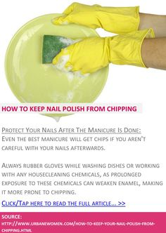 How to keep your nail polish from chipping - Protect your nails after the manicure is done - Click to read full article: http://www.urbanewomen.com/how-to-keep-your-nail-polish-from-chipping.html