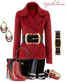 """""""Red & Black"""" by tufootballmom ❤ liked on Polyvore"""
