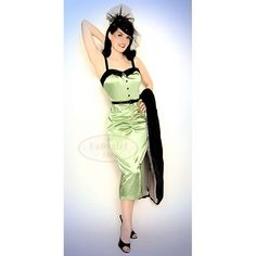 Find Stop Staring 1950s Lauren Pinup Girl Wiggle Dress in Creme de Menthe & Black Satin HERE