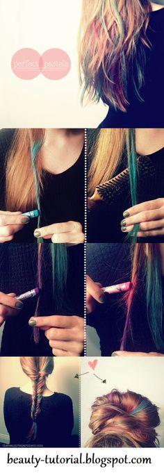 beauty tutorials, hair tutorials, chalk pastels, colored hair, rainbow hair, braid hair, brown hair, pastel hair, hair chalk