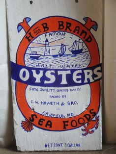 Vintage Maryland Oyster Label by CustomizePaintForYou on Etsy, $60.00