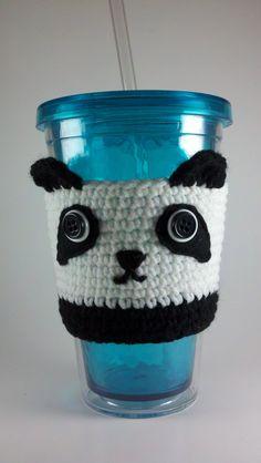 Crochet Custom Panda Cup Cozy by Jenniface on Etsy