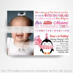 Girl Penguin Birthday Party Printable Invitation - YOU Print