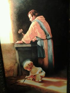 """""""Destiny"""" by an artist who wishes to remain anonymous, beautifully depicts Jesus as a young boy in Joseph's carpenter shop. The nail spikes and the shadow of a cross fortell the events to come; the destiny Christ that came to fulfill."""