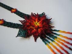 Flower Huichol Necklace by HuicholArt on Etsy