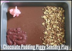 Chocolate Pudding Piggy Sensory Play - House of Burke
