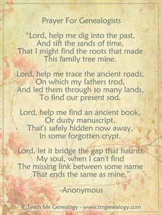 Beautiful Prayer for Genealogists - Teach Me Genealogy