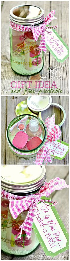 """Adorable Gift Idea in a Jar and Free Printable! """"It is your day... Have a Ball! the36thavenue.com #herritagecollection"""