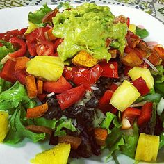 """Easy Burrito Salad -- a good """"use-whatever-you've-got"""" lunch. Use 1 cup of brown rice and skip the avocado for Phase 1. You can use black beans, or leftover turkey or ground beef -- whatever you've got on hand. Try it with some pineapple on top (as shown) for a complete Phase 1 lunch."""