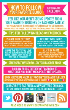 "How To Follow Your Favorite Blogs  - great post if you hate the constant FB changes and how they ""hide"" your posts, or if you aren't seeing posts from your favorite blogs on social media lately"