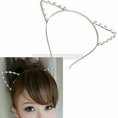 UN3F Sexy Cat Ear Girl Head Band Beaded Hair Band Metal Fashion Silver