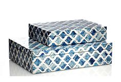 Bone Damask Nested Boxes, Blue