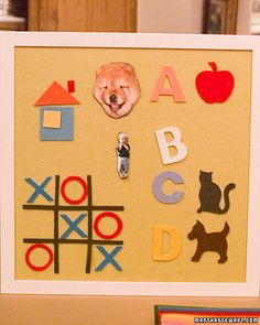 Felt Board - A felt board can be both a pretty addition to a child's room and an educational tool. Using felt for both the face of the board and the shapes that adhere to it, you can create an alphabet (use stencils or cookie cutters to trace out shapes) or make simple games like tic-tac-toe.