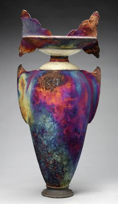 Raku Vessel. The colors are amazing on this piece.