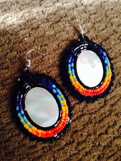 Native American Beaded Earrings shell set  by KianiKine on Etsy, $25.00