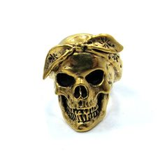 Stainless steel ring available in silver tone or gold tone. #InkedShop #cali #skull #thug #ring #jewelry