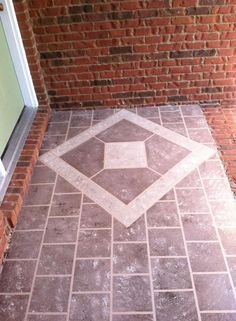 Hometalk :: Front Porch Faux Tile (using paint and masking tape and a plastic bag)