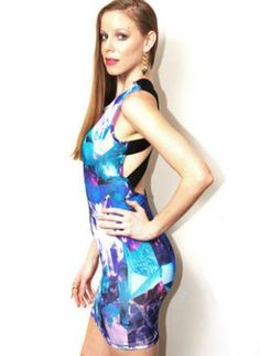 Blue Gem Print Strappy Cutout Back Dress #bodycon #cute #partydress #minidress #fitted #ustrendy