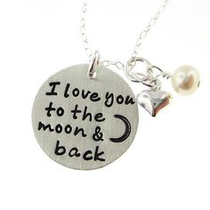 I love you to the moon and back  Sterling by jcjewelrydesign