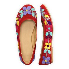 Fair Trade Red Cherry Hand Embroidered Ballet Flats from fairindigo.com
