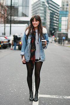 Stripes / parisian / denim / black tights / boots / cold weather fashion / coffee / urban style / scarf / leather