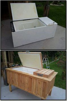 Upcycle - old fridge turned into a cooler... This is super awesome! Maybe after I get a new fridge I can do this with my old one!