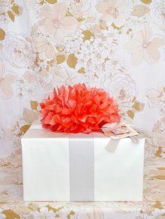 Paper pom pom gift topper