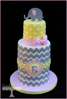Elephant Baby Shower Cake - by CuteologyCakes @ CakesDecor.com - cake decorating website