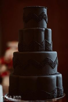 Black on black Chevron wedding cake...Stunning!! #weddings #cake #weddingcake #chevron #chevronweddings #themedweddings #blackwedding #blackwhiteweding #jevel #jevelwedding #jevelweddingplanning Follow Us: www.jevelweddingplanning.com www.facebook.com/jevelweddingplanning/  www.pinterest.com/jevelwedding/ www.linkedin.com/in/jevel/ www.twitter.com/jevelwedding/ dream cake, black weddings, black chevronstun, rustic weddings, butterfli cake, chevron wedding, chocolate cakes, rustic wedding cakes, chevron cakes