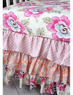 colorful, floral bumperless crib bedding