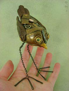 Steampunk Mechanical Birdie- POTTERY, CERAMICS, POLYMER CLAY