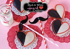 Heart Shaped Black and White Cookies