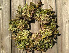 Natural Spring Hydrangea Wreath  Emerald by SeasonalBounty on Etsy, $65.00