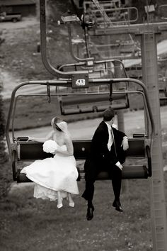 I've always thought these photos of the bride and groom on a ski lift is adorable!