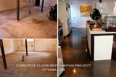 Polished concrete floor.